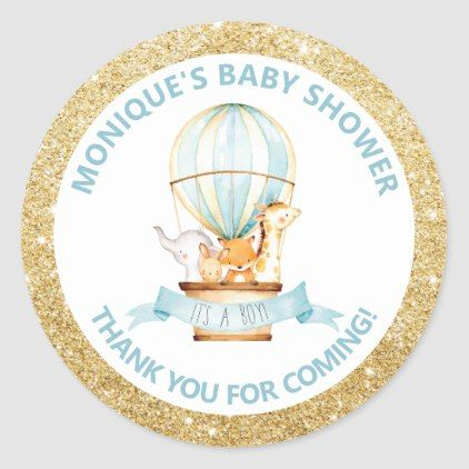 Hot Air Balloon Cute Animals Baby Shower Favors Classic Round Sticker | Zazzle.com