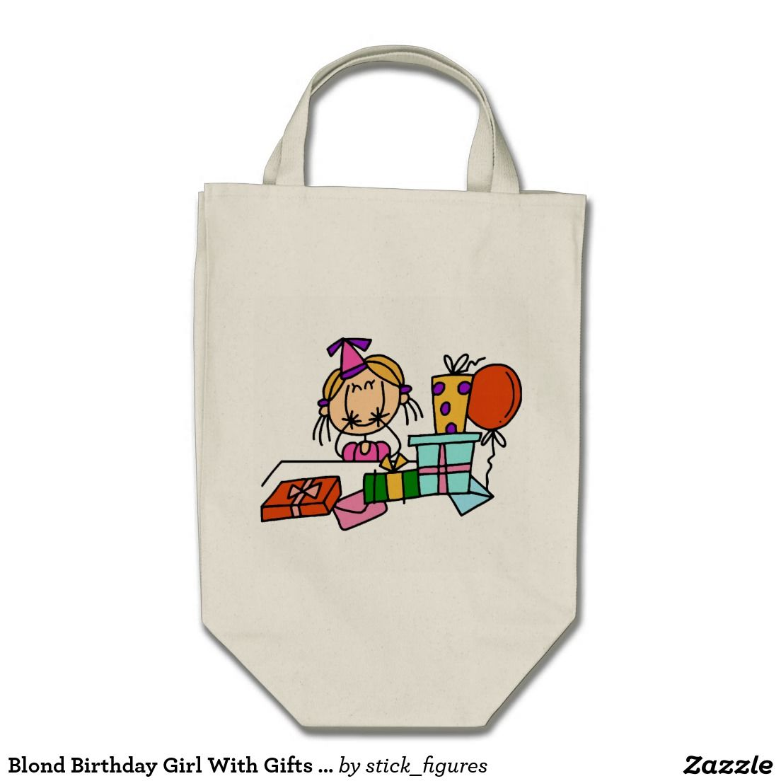 Blond Birthday Girl With Gifts T-shirts and Gifts Bag
