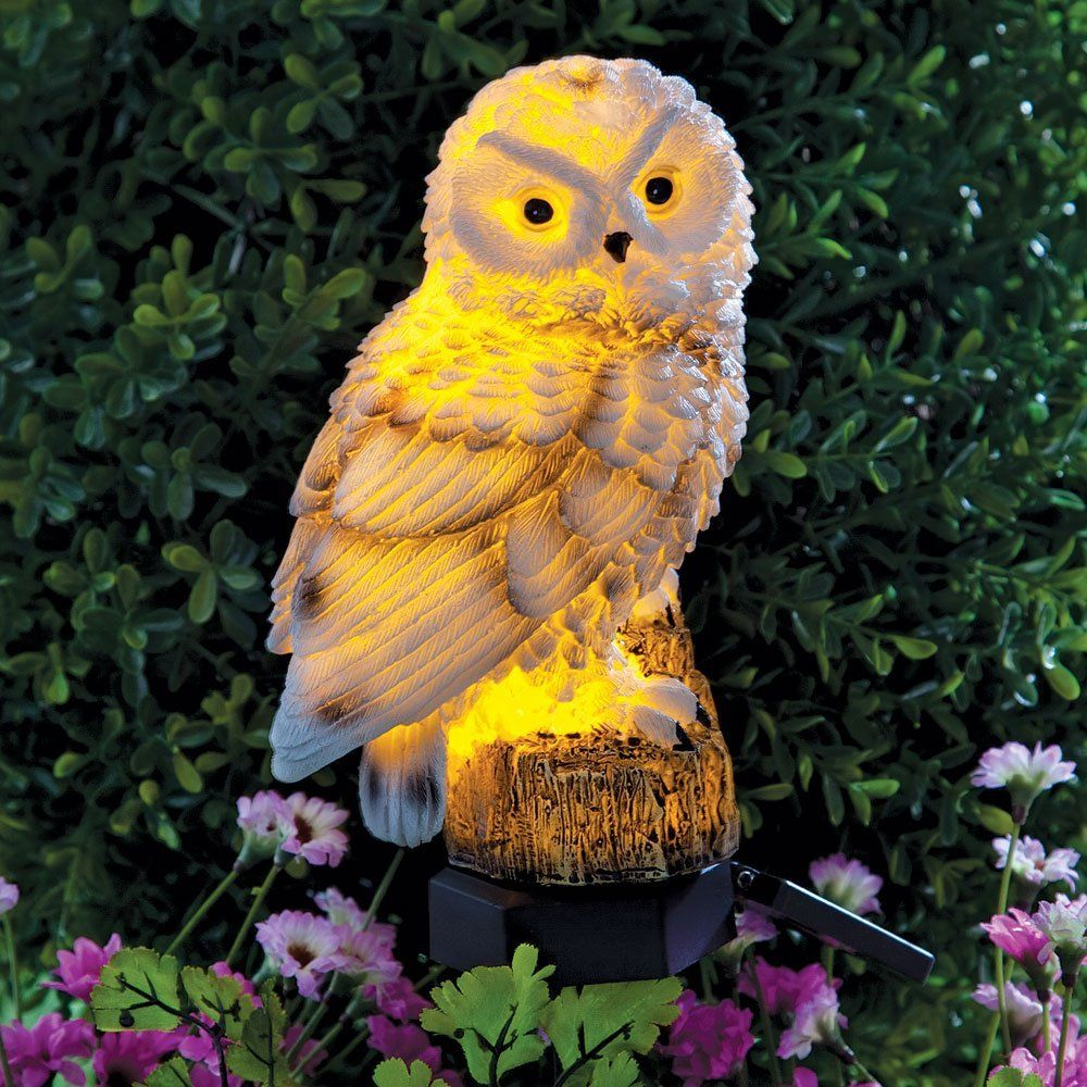 Bits and pieces solar powered led lighted owl stake