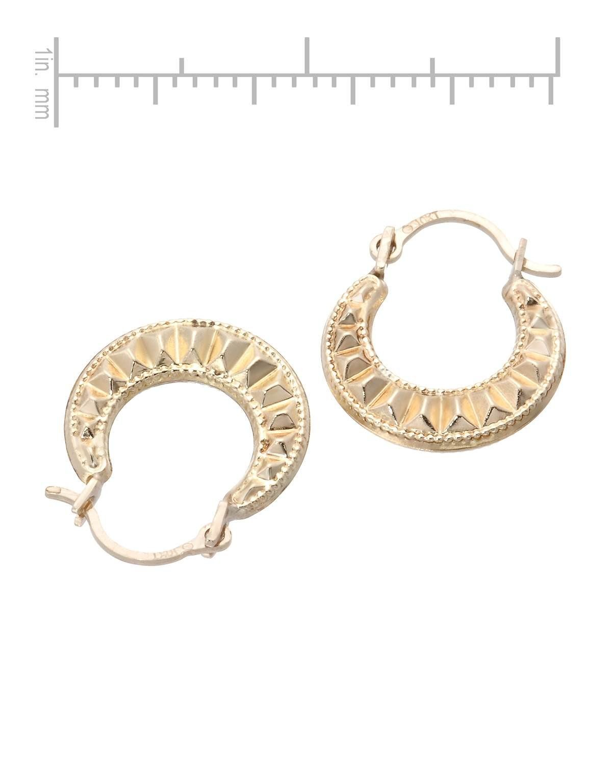 Mcs Jewelry 10 Karat Yellow Gold Small Classic Hoop Earrings With Design Diameter 16 Mm Affiliate Mcs Classic Earrings Hoop Earrings Earrings