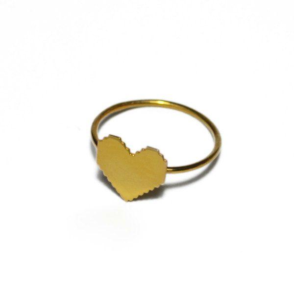 Pixel Heart Ring by Virginie Millefiori $48