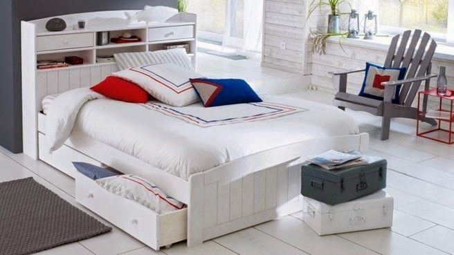 modern platform bed with storage drawers and headboard shelves