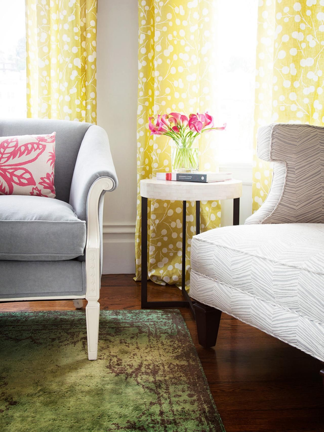 In rooms with neutral furniture, or a muted palette, Cerise {pink} can act as a breath of fresh air. Use it in accent pillows, or pluck it directly from nature