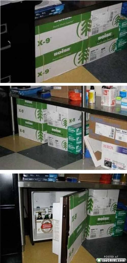 Hidden Office Fridge