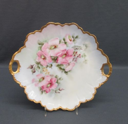 Rosenthal China Hand Painted Artist Signed Pink Flowers Decorative Cake Plate & Rosenthal China Hand Painted Artist Signed Pink Flowers Decorative ...