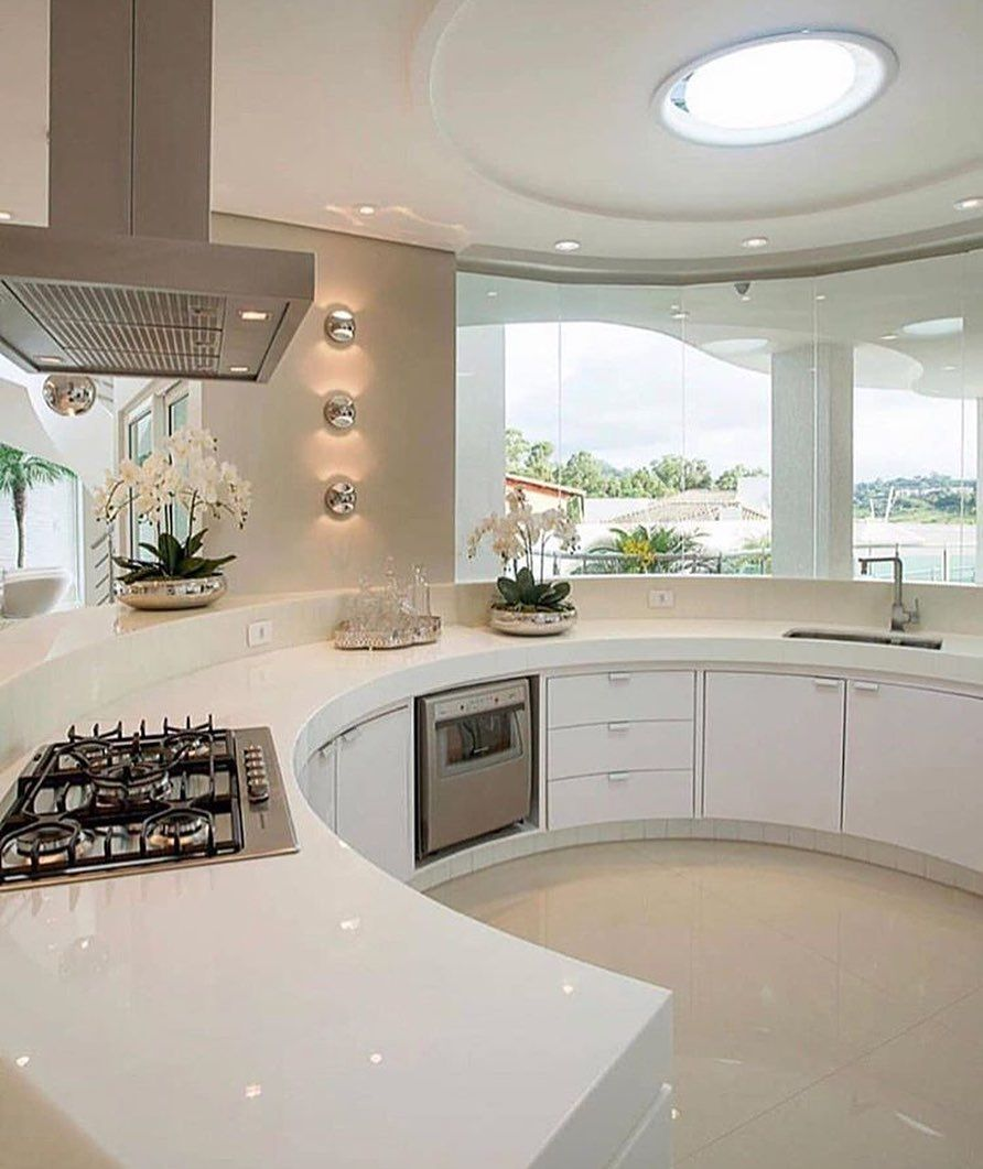 Love The Curved Countertop Dream House Rooms Luxury Kitchen Design House Design