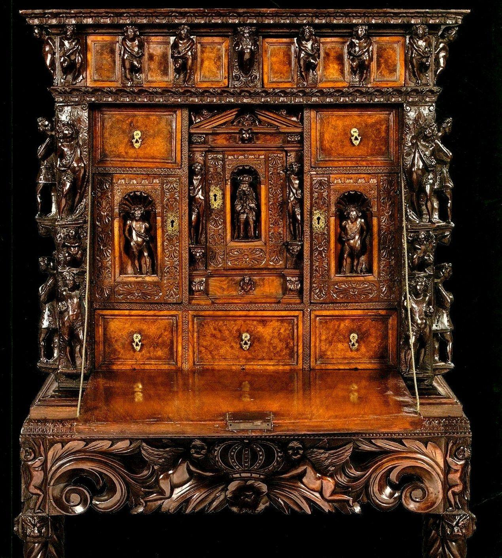 Furniture Desk Genoese 16th Century Walnut Drop Front Renaissance Furniture Fantastic Furniture Carved Furniture