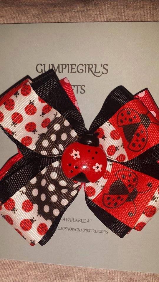 Ladybug Bow by GumpiegirlsGifts on Etsy