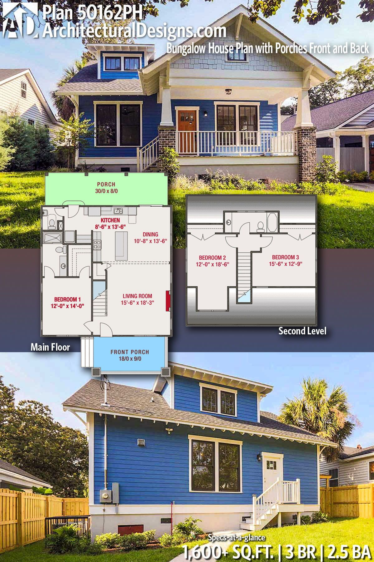 Plan 50162ph Bungalow House Plan With Porches Front And Back House Plans Architectural Design House Plans Porch House Plans