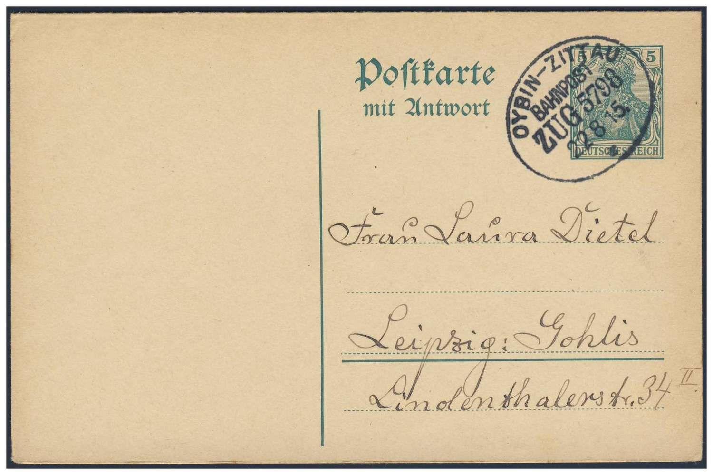 """Germany, German Empire, Deutsches Reich 1914, 5 Pfg.-GA-Doppelkarte, mit Bahnpost, """"OYBIN-ZITTAU/Zug 5798"""" nach Leipzig, von dort nach Jonsdorf/Sachsen (Mi.-Nr.P 98/Mi.EUR 30,--). Price Estimate (8/2016): 10 EUR. Unsold."""