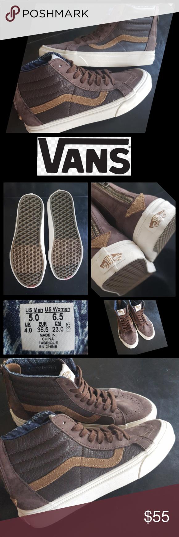 1e4c6dfd95f2 Vans RARE Sk8-Hi Brown Zip back Hi Tops Mens 5 Rare - Vans - Mens 5 --  Womens 6.5 Brand New w o tags - Clean - never worn Vans Shoes Sneakers