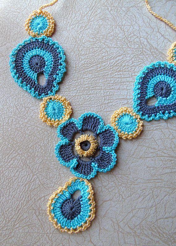 Crochet Necklace Collar Pattern Flower Necklace Pattern Boho Jewelry