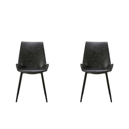 Dren Modern Dining Chair Grey Pu Set Of Two Gray Products In