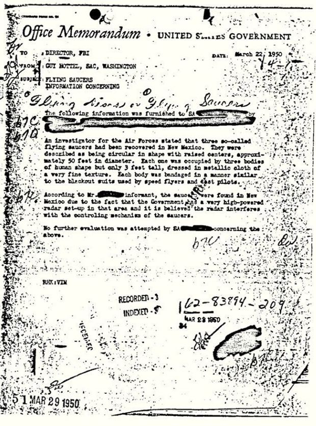 Memo on puported UFO discovery in New Mexico becomes most read - army memo