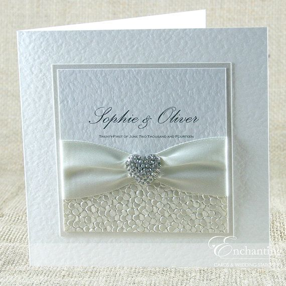 Sample The Ariel Collection Clic Fold Invitation Luxury Handcrafted Wedding Featuring A Beautiful Diamante Heart Embellishment