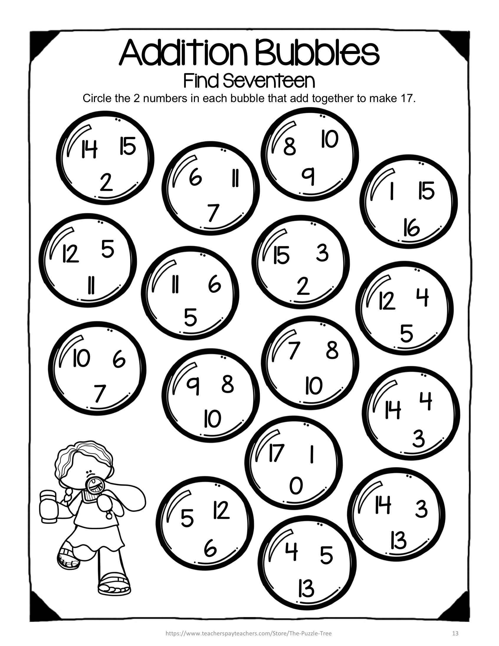 Addition Activity For Second Grade No Prep Addition Worksheets For Addition To 20 A Fun And Easy Way To Addition Worksheets Bubble Activities Addition Facts [ 2190 x 1692 Pixel ]