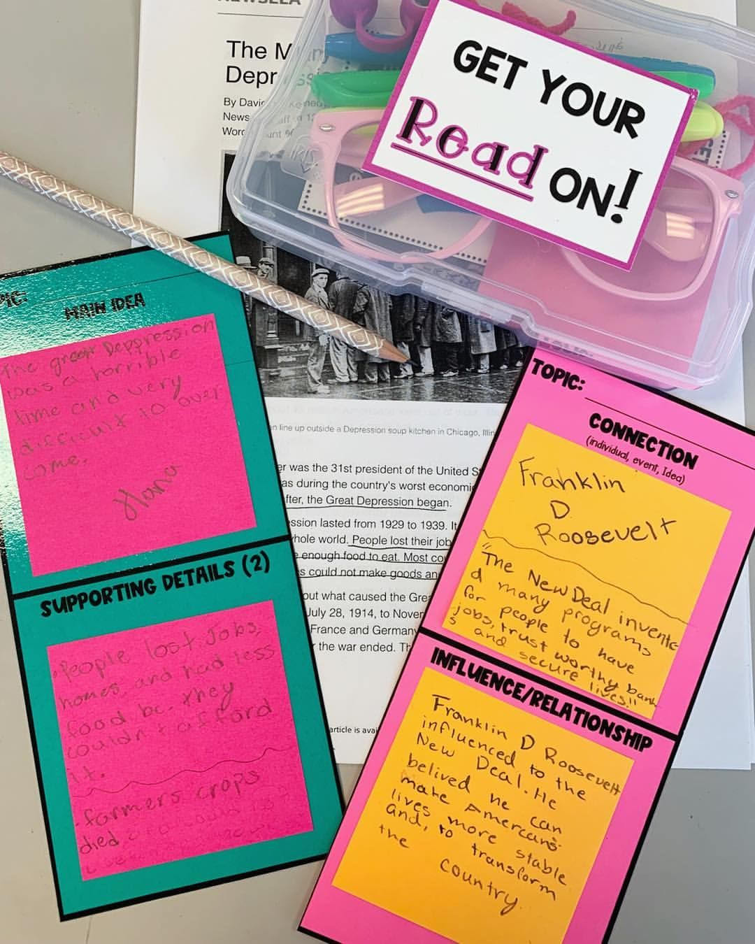 Informational Texts Sticky Note Response Sheets