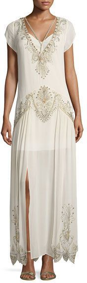 Photo of Haute Hippie Galaxy V-Neck Cap-Sleeves Embellished Evening G…