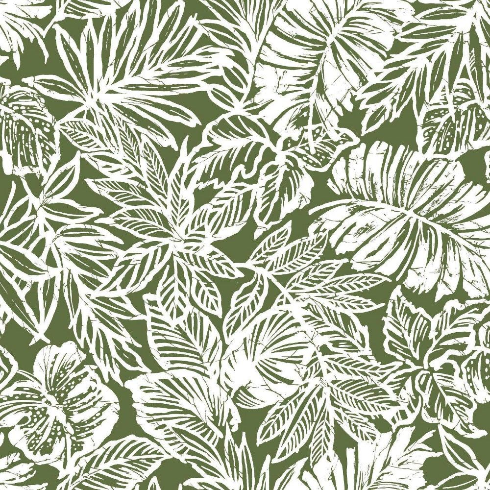 Batik Tropical Leaf Peel And Stick Wallpaper Roommates Green In 2020 Peel And Stick Wallpaper Tropical Wallpaper Tropical Leaves