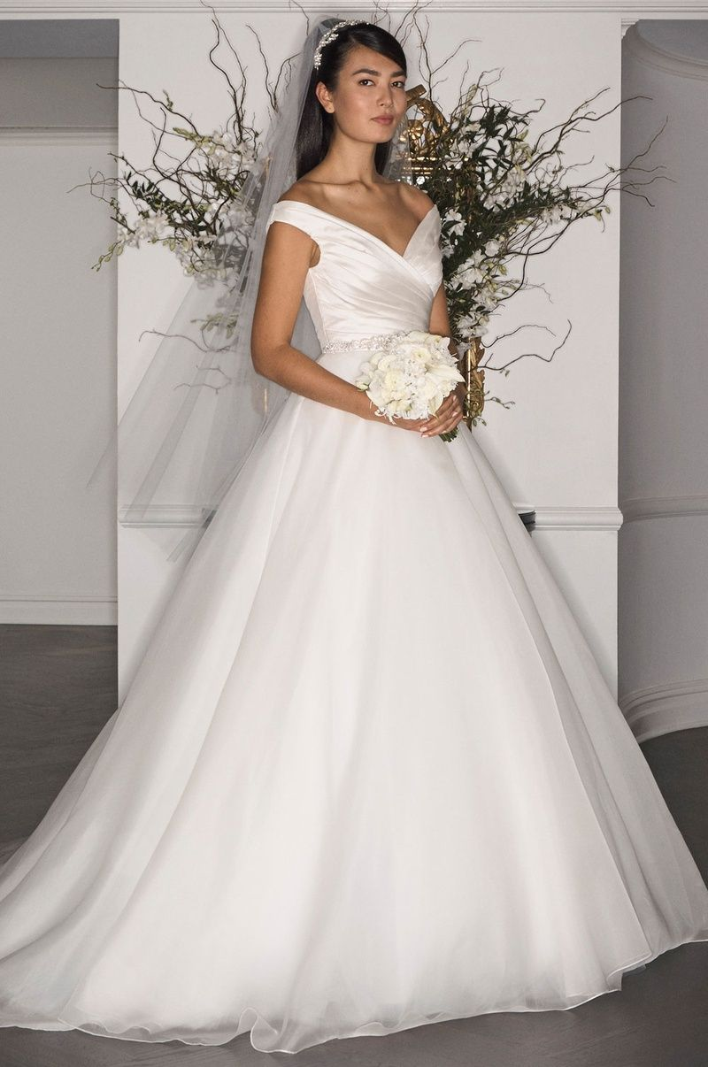 Off-the-Shoulder Ball Gown (Style L7172)   Photography: Courtesy of Romona Keveza. Read More:  http://www.insideweddings.com/news/fashion/grace-kelly-inspired-gowns-from-legends-romona-keveza-fall-2017/3286/