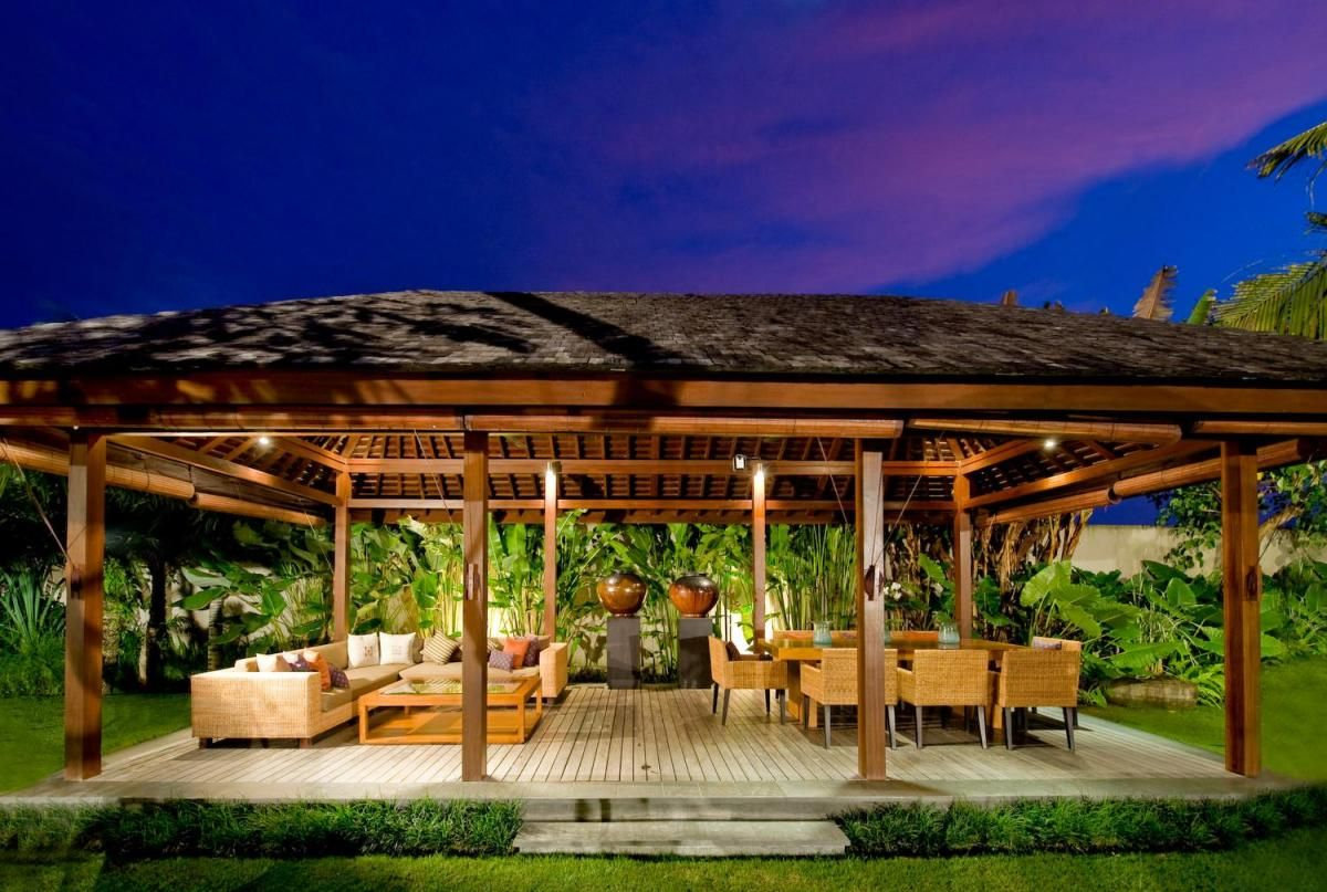 Elegant Wooden Gazebo Canopy Decors Set With Brown Rattan Chairs Cover And Tables As Well Sectional