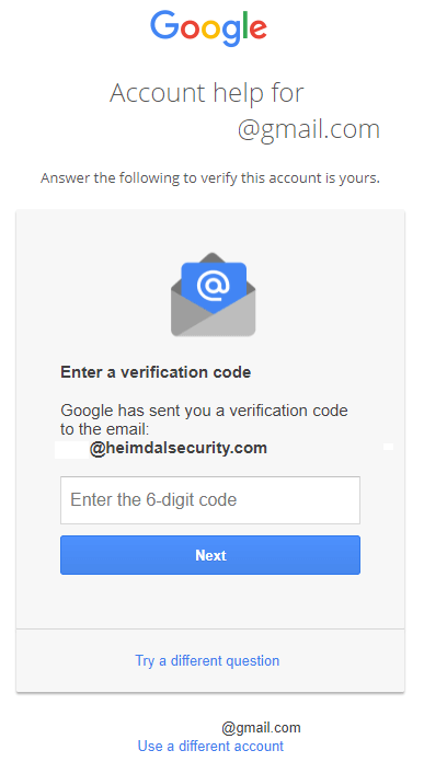 verification code Gmail account