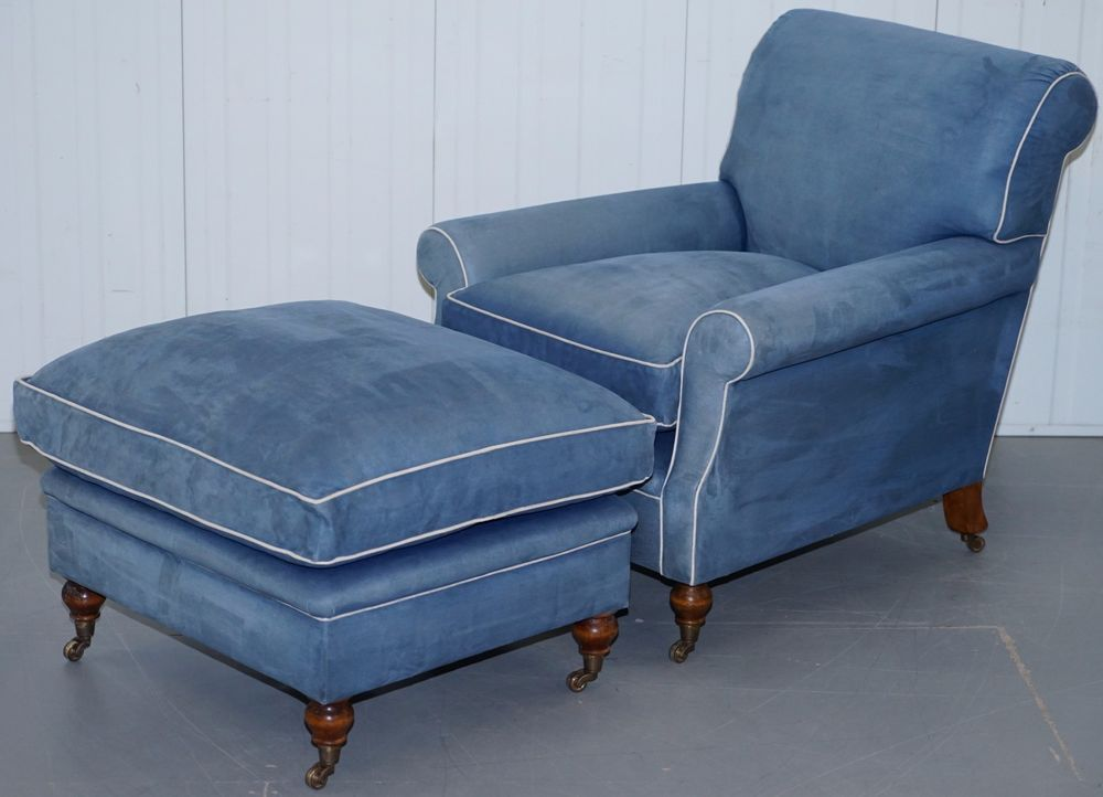 RRP £8,150 GEORGE SMITH SIGNATURE FEATHER FILLED ARMCHAIR, OTTOMAN SUEDE  LEATHER
