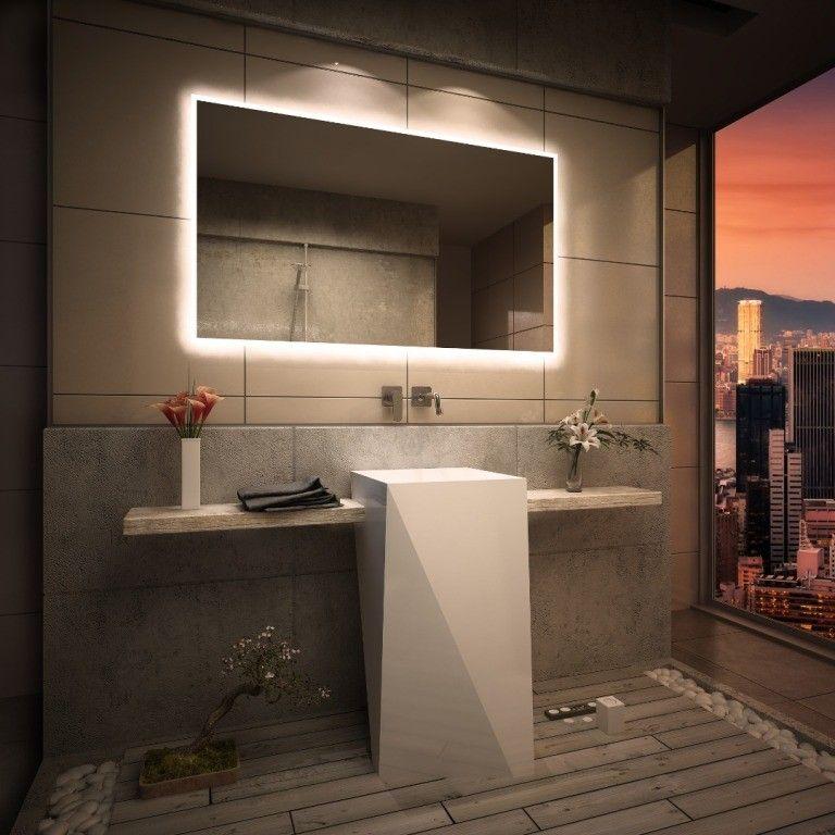 Espejo moderno estilo minimalista con luz led integrada - Espejo bano con luz integrada ...