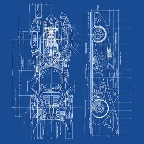 On Design You Trust  1989 Batmobile Blueprint  Bat mobile blue prints. Eiffel Tower architectural blueprint  tour eiffel  french decor