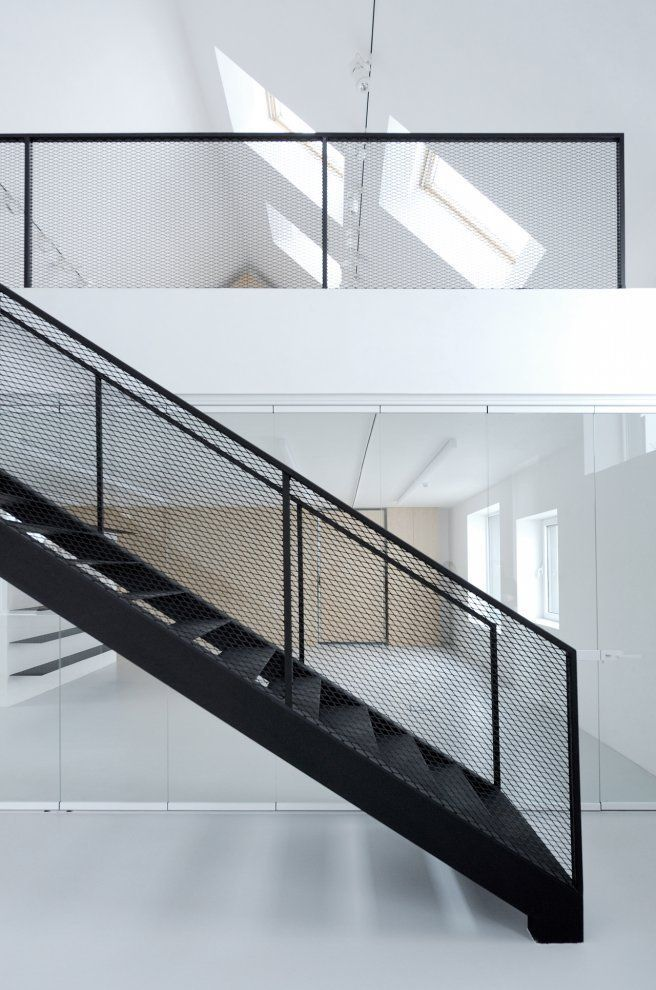 Best Leongatha Metal Mesh Balustrade Black Steel Stairs 640 x 480