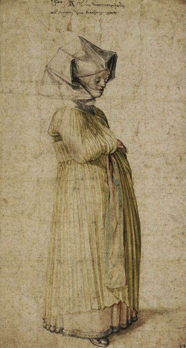 Albrecht Dürer - A woman from Nuremberg dressed for church (1500).