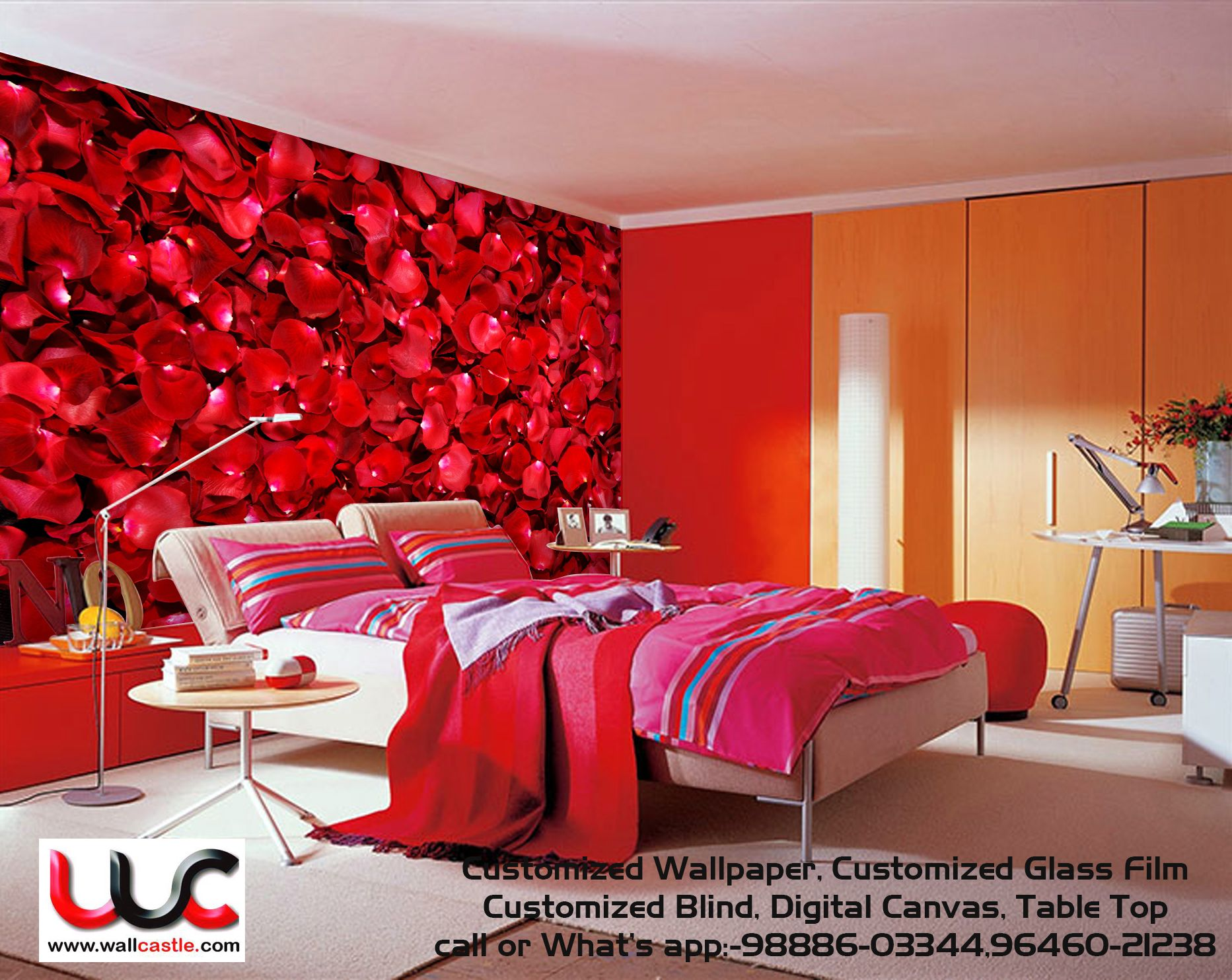 Red Roses Leaf Wallpaper Red Rooms Luxury Bedroom Design Room Wall Painting Room design colour app