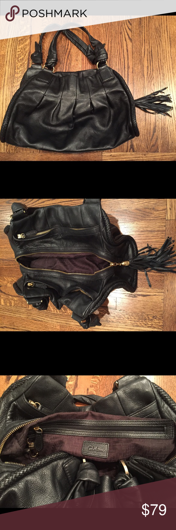Cole Haan black double strap hobo handbag This Cole Haan black double strap satchel handbag with tassel zipper and braided accents is so soft! Brushed gold accents, 3 zipping interior sections & interior pockets make this a well organized bag. Excellent used condition. Cole Haan Bags Hobos