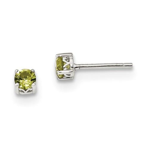 925 Silver Peridot 4mm Round Stud Earrings