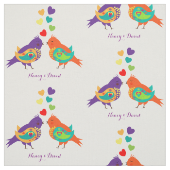 Fun, colorful and cute fabric print with two little love birds and sweet love hearts. Ideal fabric if your making something as a wedding/anniversary gift because you can customize it with the happy couples names or just as easily change it to text of your choice, for other sewing or craft projects. Available in a choice of fabric styles and cut to lengths to suit you. Don't want white, just hit customize and change the background color.