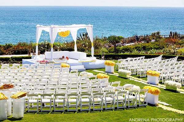 Beach Ceremony Setup Pops Of Color Yellow