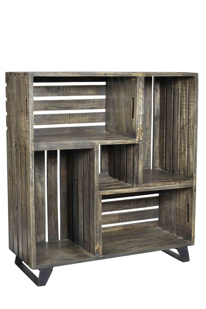 Etag re en bois market biblioth que d 39 appoint caisses pommes industriel meubles en bois de - Etagere d appoint cuisine ...