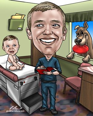 Great way to incorporate all the little things that make them special!  Custom caricature hand drawn from a photo.  #nursegraduationgifts, #nursegiftideas