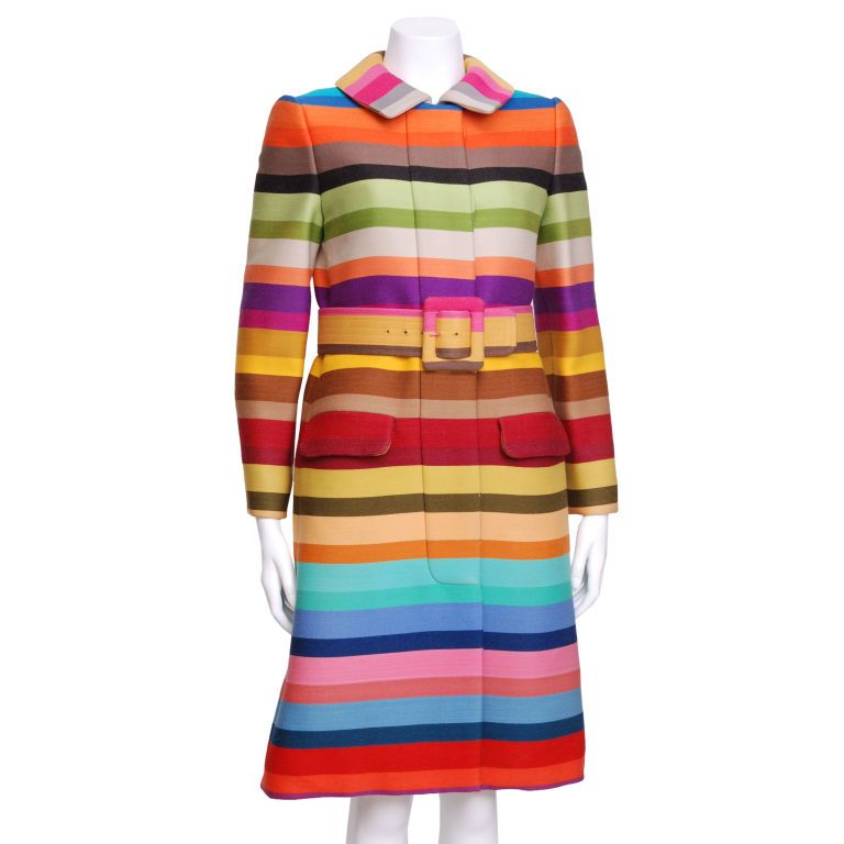 Donald Brooks Multi Color Striped Coat with Matching Belt U.S.A. ...