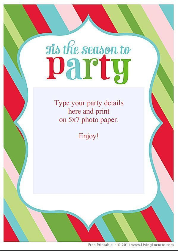 15 Free Printable Christmas Party Invitations | Pinterest | Party ...