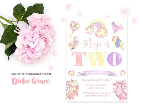 6th Birthday Invites Unicorn Child Party Invitations 7th