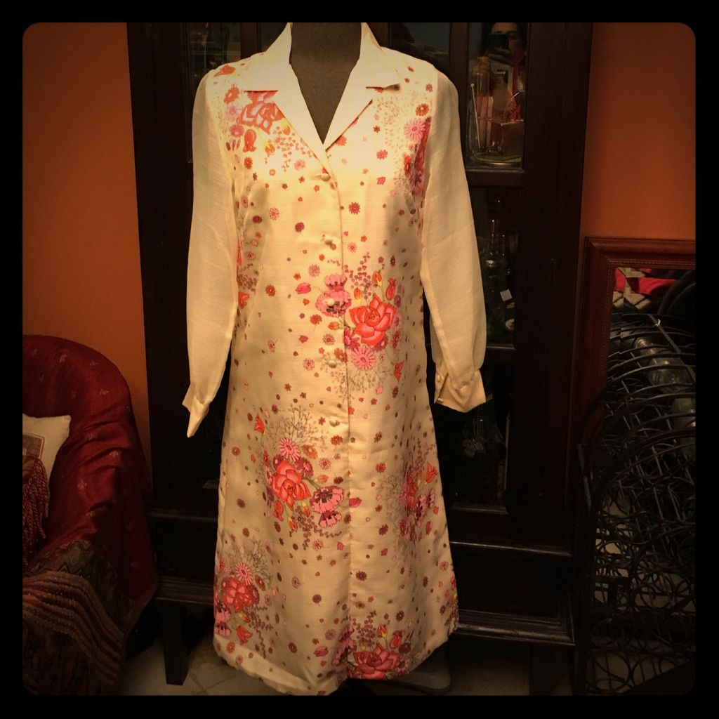 Vintage 1960s Hand Painted Alfred Shaheen Dress