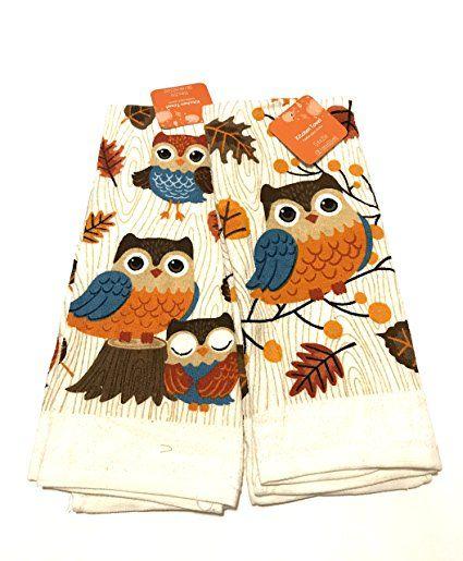 autumn owl kitchen towel set review | owl kitchen, towel