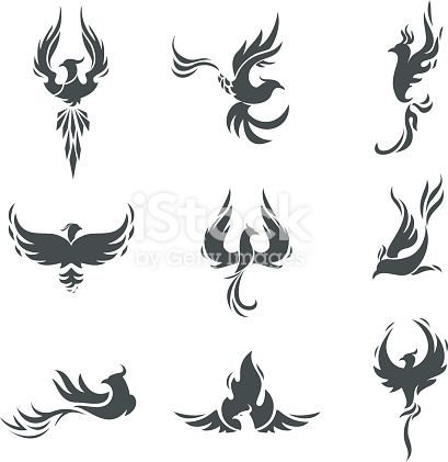 Phoenix bird stylized silhouettes icons on white background. template...