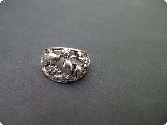 a4b86bbecb7e Vintage Sterling Silver Ring Dolphins Playing Ball by FeelsFree ...