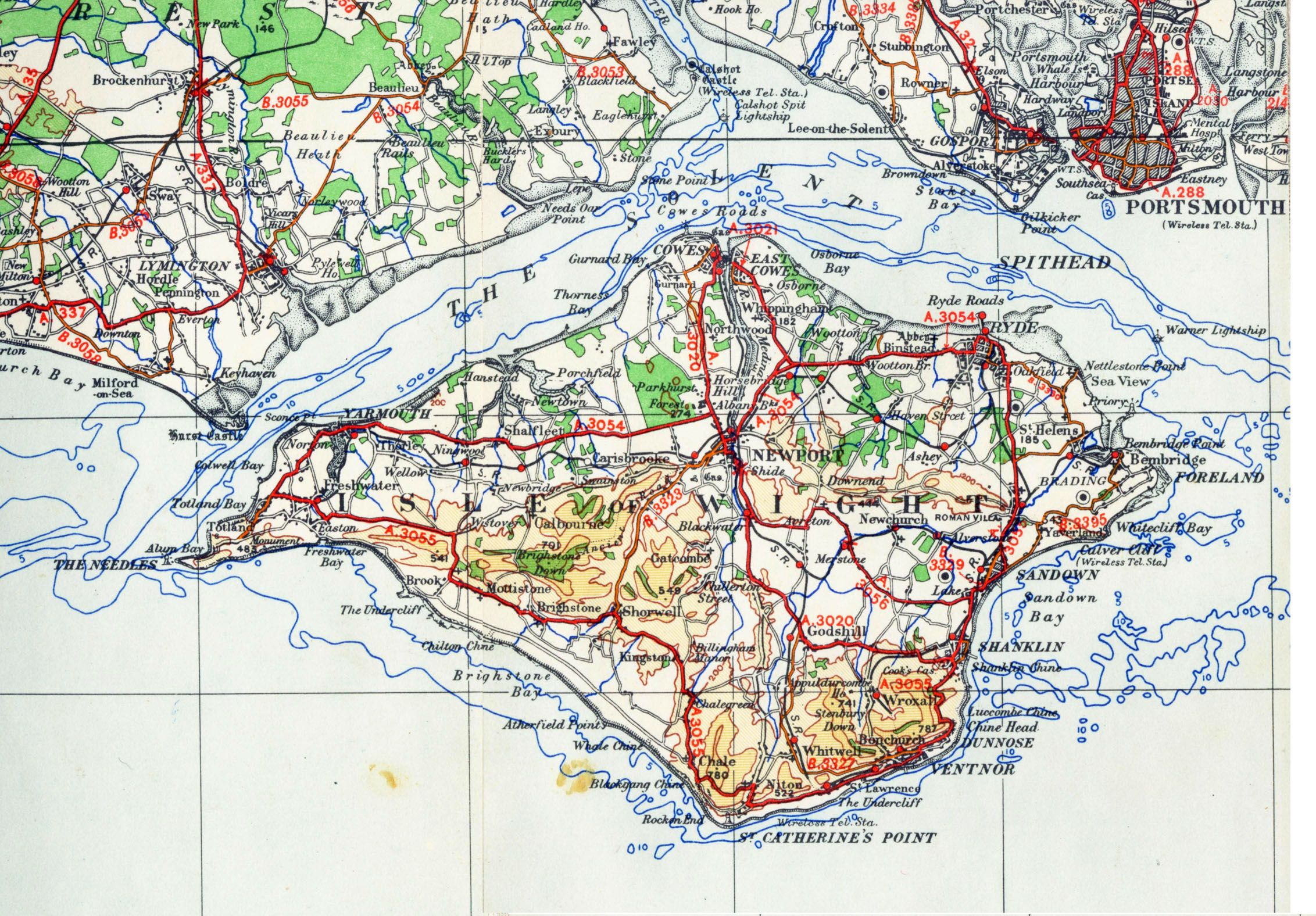 Isle of Wight, UK Government Map, 1945