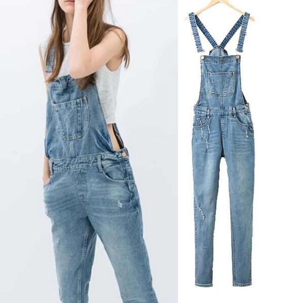 7f4fa32460b Spring Denim Jumpsuits Women s Overalls Pants Ladies  Jeans Gallus Female  Ripped Hole Ladies Cowboy Slim Casual Romper Plus