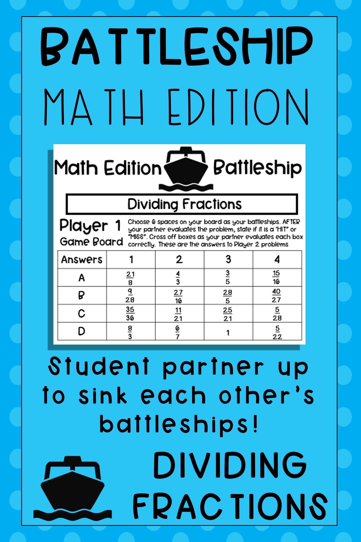 Dividing Fraction Math Game In