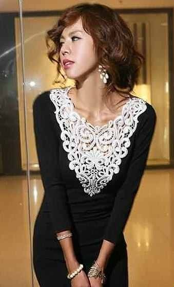 Very classy black and white lace dress.