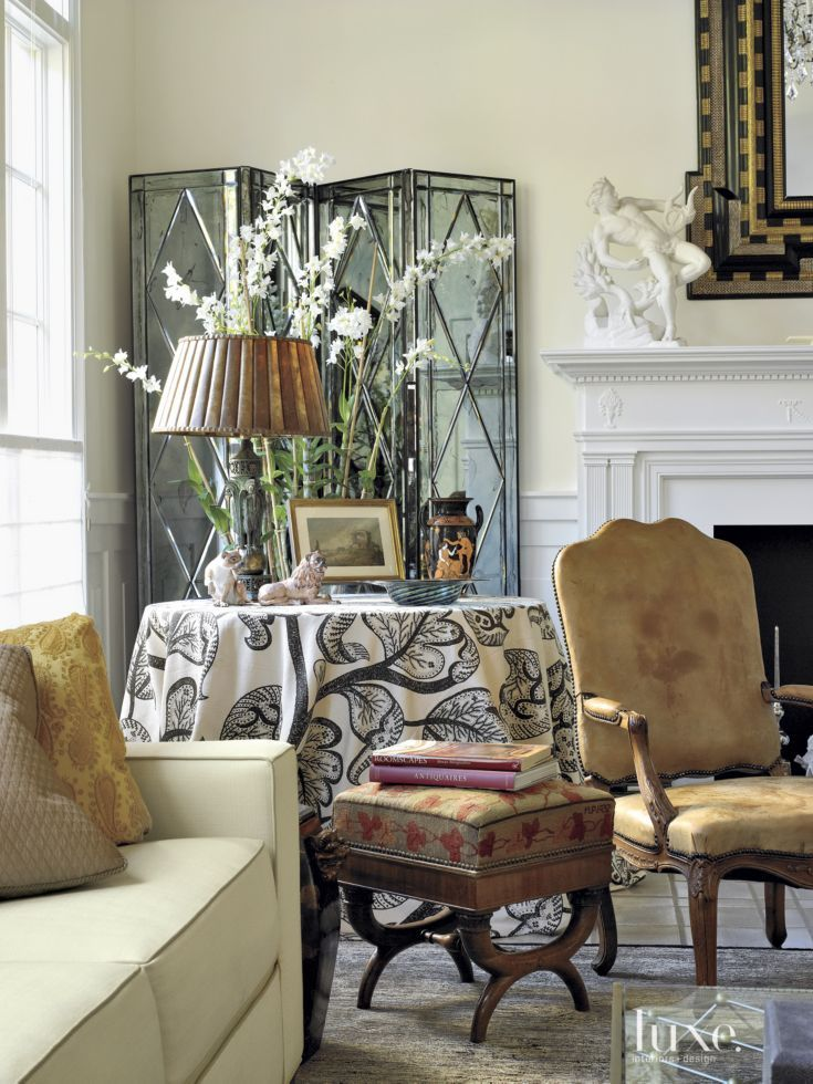Transitional Cream Living Room Vignette | Luxe living room ...